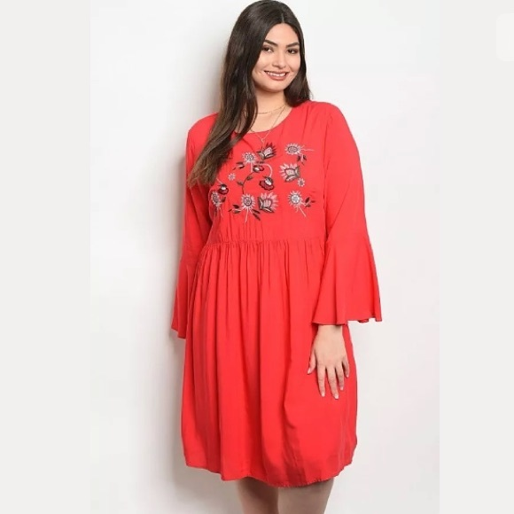 NWT Plus Size Red Boho Embroidered Dress Boutique